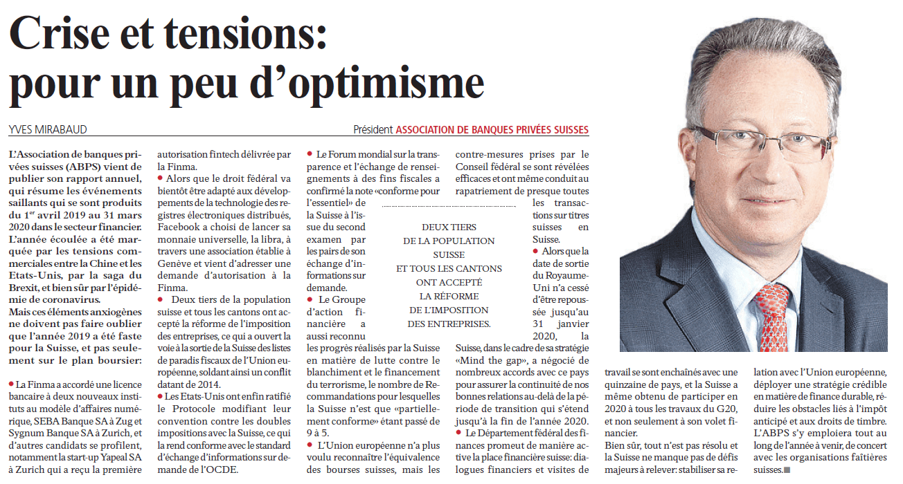 Article by Yves Mirabaud in l'Agefi